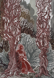 Sei mir gegrüßt Melancholie (Sie schneidet immer noch), 2009, Farblinolschnitt, 100 x 70 cm