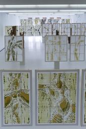 """Blick in die Ausstellung """"Zwischenschritte"""" im BlMK DKWCottbus mit Shojidrucken und Skulpturen von H-G Wagner"""