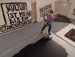 """Die Kunsthalle im Koffer zeigt großformatige Linoldrucke von Vivienne de Flaubaire, """"Under Pressure"""""""