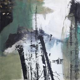 Waldstück #201853, Malerei und Siebdruck auf Leinwand, Foto: Sibylle Möndel
