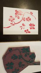 """Sakura in Linol im Workshop """"Linolschnitt + Handsatz + Druck = Druckkunst"""" © NUR EIN MÜ."""