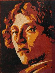 "Harald Stadler, ""Hommage an Botticelli"", 2018, Farbholzschnitt, 40 x 30 cm"