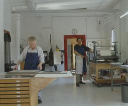 Blick auf die Druckpresse, Foto und ©: Brigitte Hempel - Schanzenbach