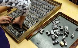Arbeit mit dem typografischen Handsatz