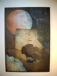 Zuflucht, 2-Platten-Farbradierung, Strichätzung, Aquatinta, Vernis mou, Copyright Reinhard Koschubs