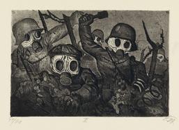 """Otto Dix, Sturmtruppe geht unter Gas vor, aus der Mappe """"Der Krieg"""" II, Verlag Karl Nierendorf, Berlin, 1924, Strichätzung, Aquatinta und Kaltnadel auf Maschinenbütten, Buchheim Museum der Phantasie, © VG Bild-Kunst Bonn, 2019"""