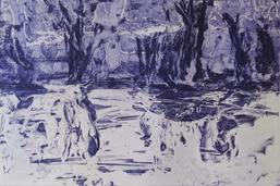 """""""Leiser Wellenschlag"""", künstlerischer Tiefdruck, 20 x 30 cm, Bettina Kykebusch"""