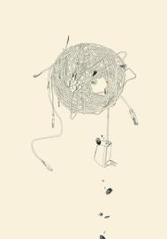 Speichermedium wird ausgeworfen, Sarah Fischer, 2016, Kohle auf Papier