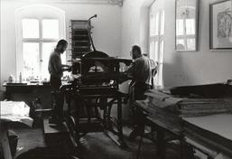AFL-Lithowerkstatt seit 1992, Volker Lenkeit und Michael Hengst, Foto: Maren Uhlherr