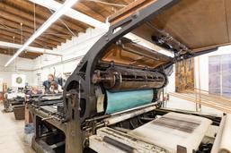 Vorführung der Steindruckschnellpresse FAUST von 1912
