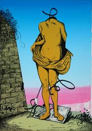 "Steve Viezens, ""Ruiniert 2"", Siebdruck u. Schablonendruck, 28 x 42 cm, 2018"