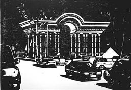 "Aus der Serie ""Tajikpop"": Khudjand, Bogen mit Autos. Linolschnitt, Handdruck, 21 x 30 cm, 2016"