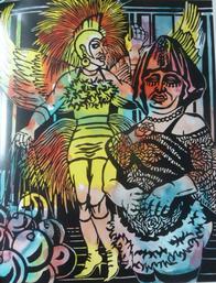 "Ingeborg Leuthold-Hosaeus, ""Hortensie & der Paradiesvogel"", kolorierter Linoldruck, 2004"