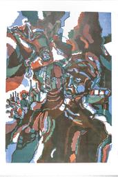 Aufprall, Linolschnitt 2018, 42 x 60 cm