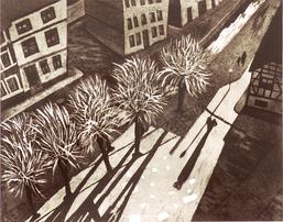 Britta Matthies, Dächer VII, Aquatinta, 50 x 60 cm