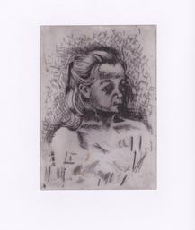 Mädchen-Portrait, Kaldnadelradierung, Handdruck, Alle Rechte vorbehalten