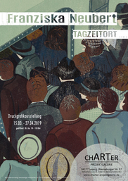 Franziska Neubert, Metroeinstieg, Mehrfarbiger Holzschnitt, 30 x 40 cm Blattformat, 2018
