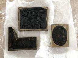 Drei von 52 Linolschnitt-Platten (1933–1939) von Asger Jorn