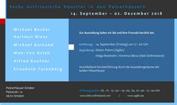 Flyer zur Ausstellung Sechs ostfriesische Künstler in den Pelzerhäusern, Emden