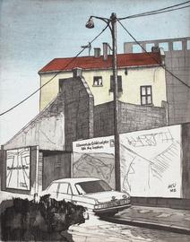 Harald Herr, Metzgerei Nägele, 1983, Radierung koloriert, 32 x 24,5 cm, Foto: Bodo Kraft