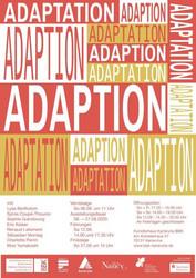 """Plakat zur Ausstellung """"Adaptions""""; Entwurf: Adeline Abegg"""