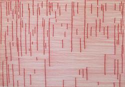 """Karin Schroeder, Zeichnung aus der Serie """"gestrickt gezeichnet"""", 2007, 35 x 50 cm, Tusche auf Papier"""
